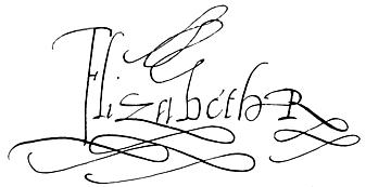 Signaure / Autograph : Queen Elizabeth I